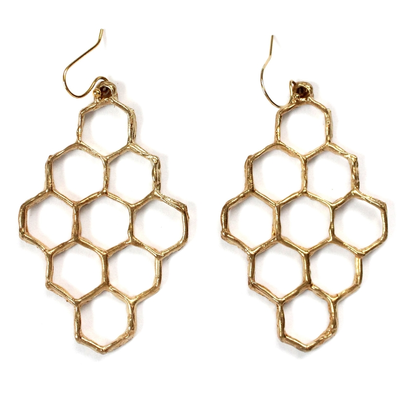 Mary Frances Flowers Honeycomb Earrings Jewelry