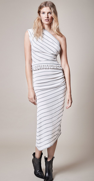 Smythe Striped One Shoulder Dress Dresses