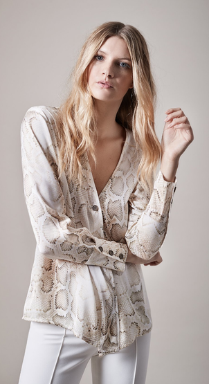 Smythe Snakeskin Button Up Tops
