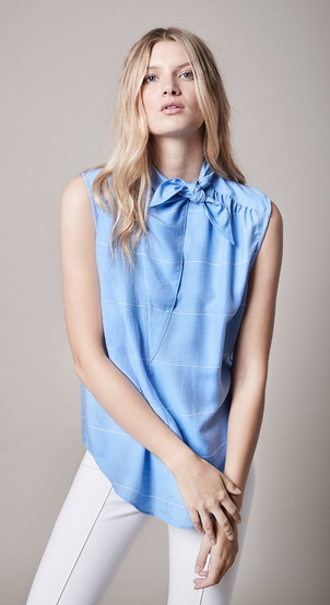 Smythe Blue Tie Neck Blouse Tops