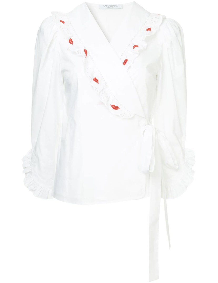 Vivetta White Wrap Top with Lips Tops