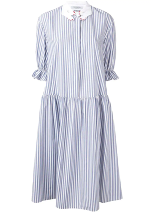 Vivetta Striped 3/4 Sleeve Dress with Hand Collar Dresses
