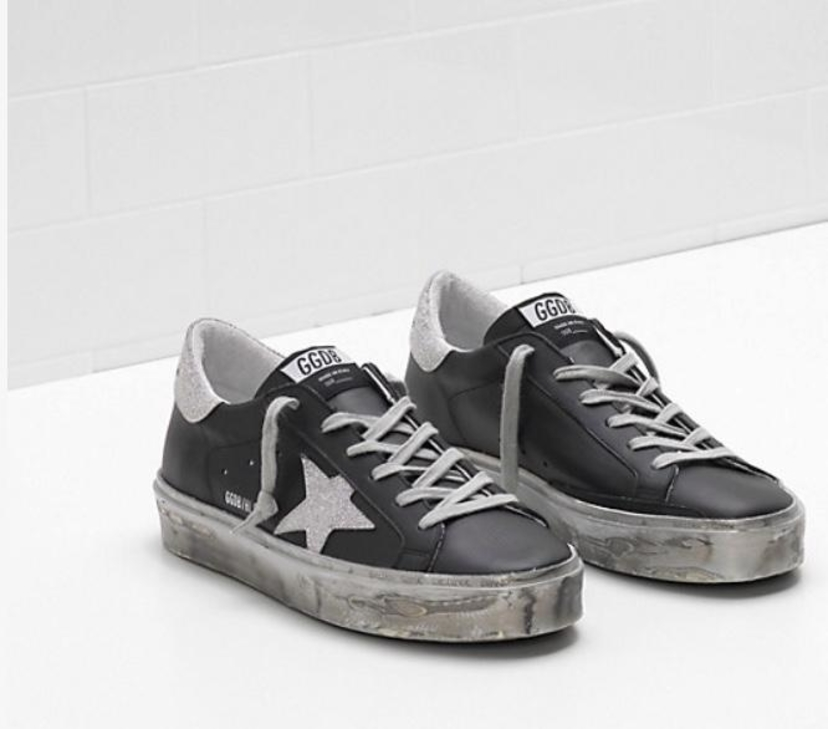 Golden Goose Deluxe Brand Golden Goose Hi Star Black Leather-Silver Sparkle Star Shoes