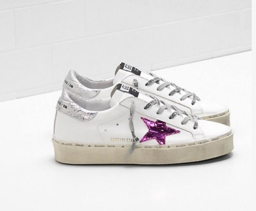 Golden Goose Deluxe Brand Golden Goose Hi Star White Leather-Silver-Pink Crack Shoes