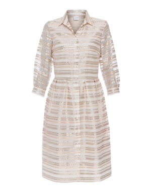 Sara Roka Luna Gold and Silver Striped Dress Dresses