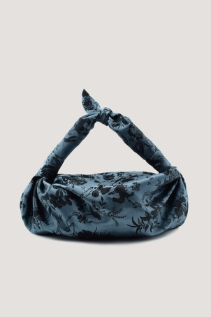 NST STUDIO Blue Silk Cloqué Knot Bag Bags