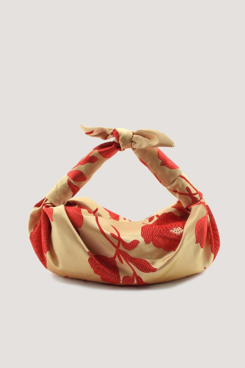 NST STUDIO Red Floral Silk Cloqué Knot Bag Bags