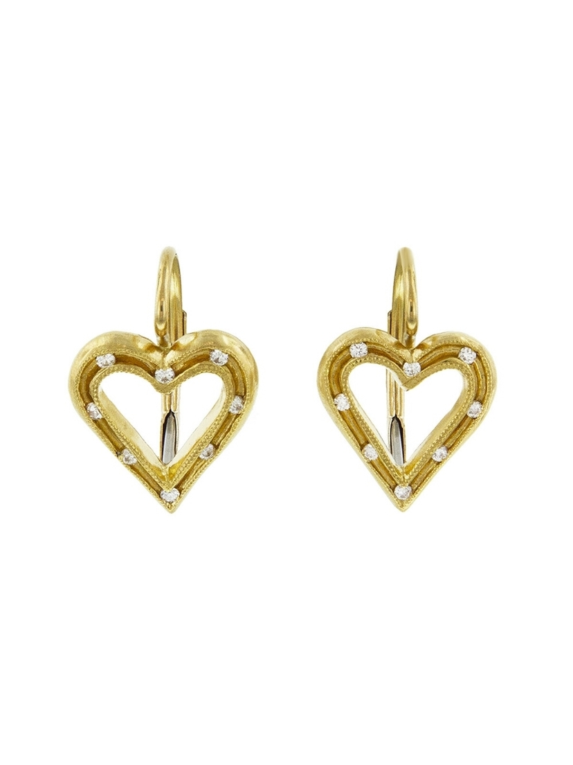 07378061a8ce0 Cathy Waterman Fairy Lights Heart Earrings - Yellow Gold | House Account