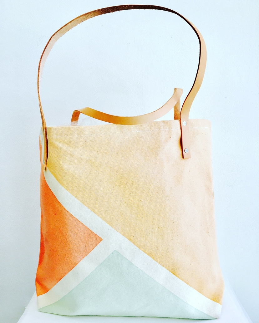 SSC Tote: Canvas and Leather tote. Sea Foam Green, Tan and Coral Bags