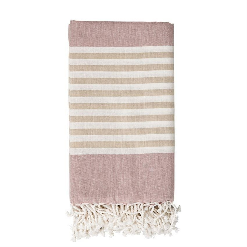 Bloomville Summer Blanket: Rose, Neutral and White Striped Cotton Throw Home decor