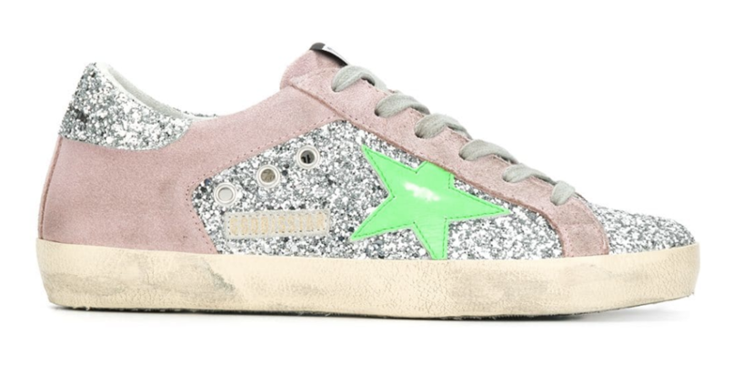 Golden Goose Deluxe Brand Superstar - Pink Suede/Silver Glitter/Neon Green Star Shoes