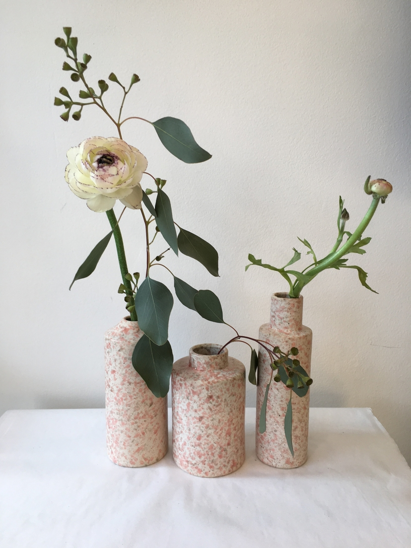 Bloomville Pink Speckled Stoneware Vase Home decor