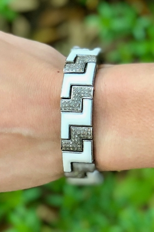 The Woods Fine Jewelry Geometric White Enamel Cuff Jewelry