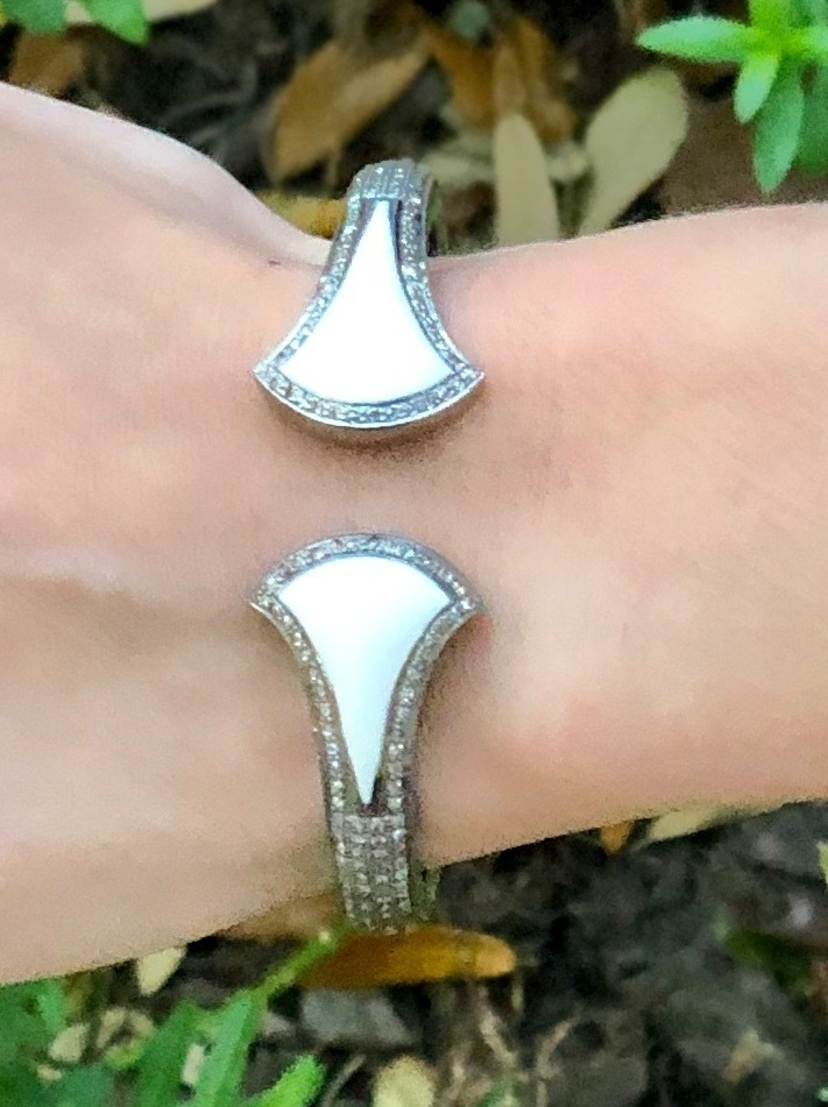 The Woods Fine Jewelry Teardrop Shape White Enamel Open Cuff Jewelry