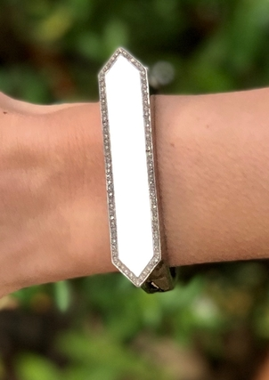 The Woods Fine Jewelry Long Hexagon White Enamel Cuff Jewelry