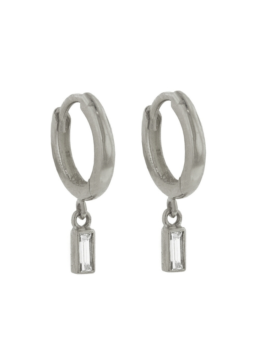 Jennifer Meyer Jennifer Meyer Baguette Diamond Drop Huggie Hoop Earrings  - White Gold Jewelry