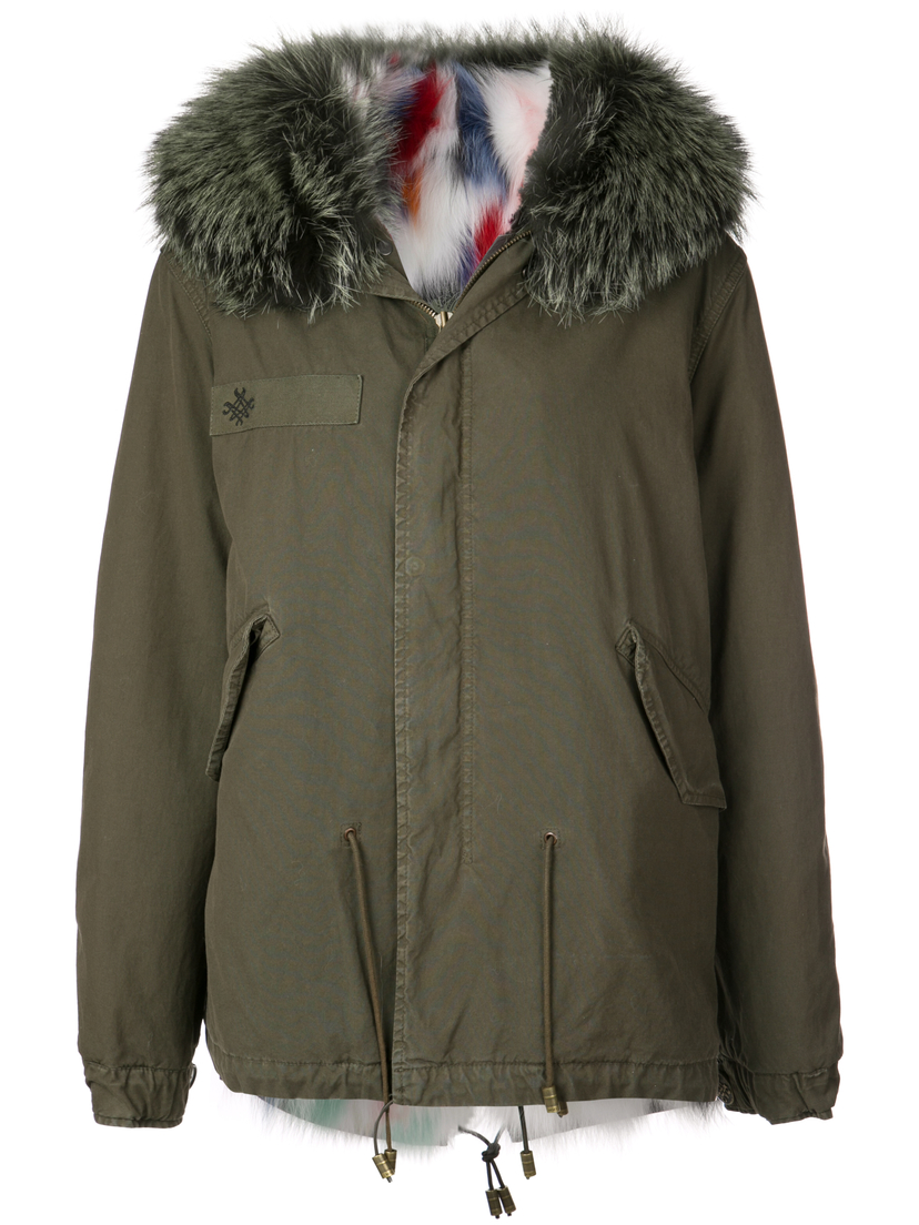 Mr. & Mrs. Italy Green Parka with Multicolor Fur Lining Outerwear