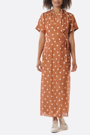 Whit Brown Polka Dotted June Dress Dresses