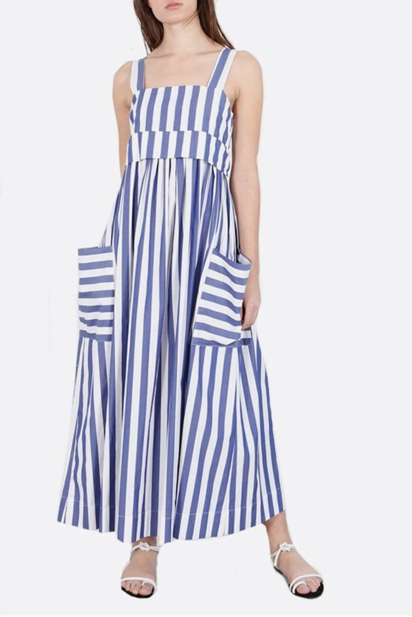 Whit Blue Striped Pocket Dress Dresses Sale