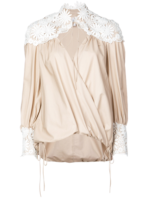 Rosie Assoulin Lace Panel Wrap-Style Top Tops