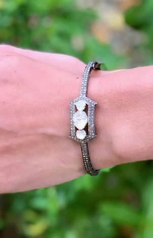 The Woods Fine Jewelry Three Rough Cut Diamond Bracelet Jewelry
