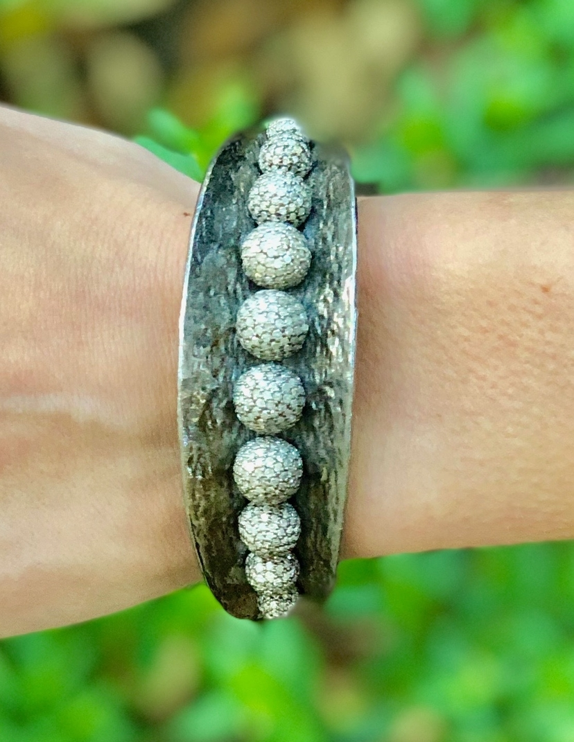 The Woods Fine Jewelry Pave Diamond Beaded Bangle Bracelet Jewelry