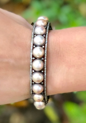 The Woods Fine Jewelry Pearl and Pave Diamond Bangle Jewelry