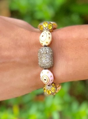 The Woods Fine Jewelry Enamel, Pave Diamond & Yellow Sapphire Stretch Bracelet Jewelry