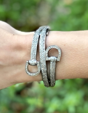 The Woods Fine Jewelry Pave Diamond Horsebit Bangle Jewelry