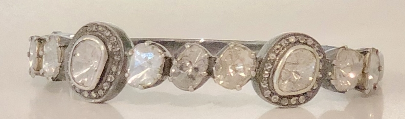 The Woods Fine Jewelry Rough Cut Diamond Bangle With Pave Diamond Accents Jewelry
