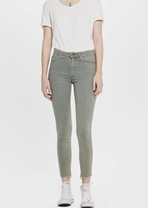 Mother Mother High Waisted Looker Ankle Fray in Army Green Pants