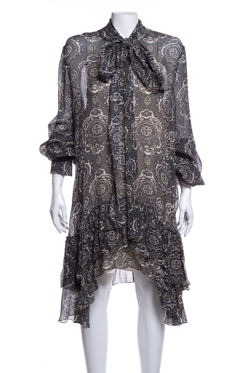 Chloé Chloe Multi Color Long Sleeve Silk Dress SZ 44 Dresses Sale