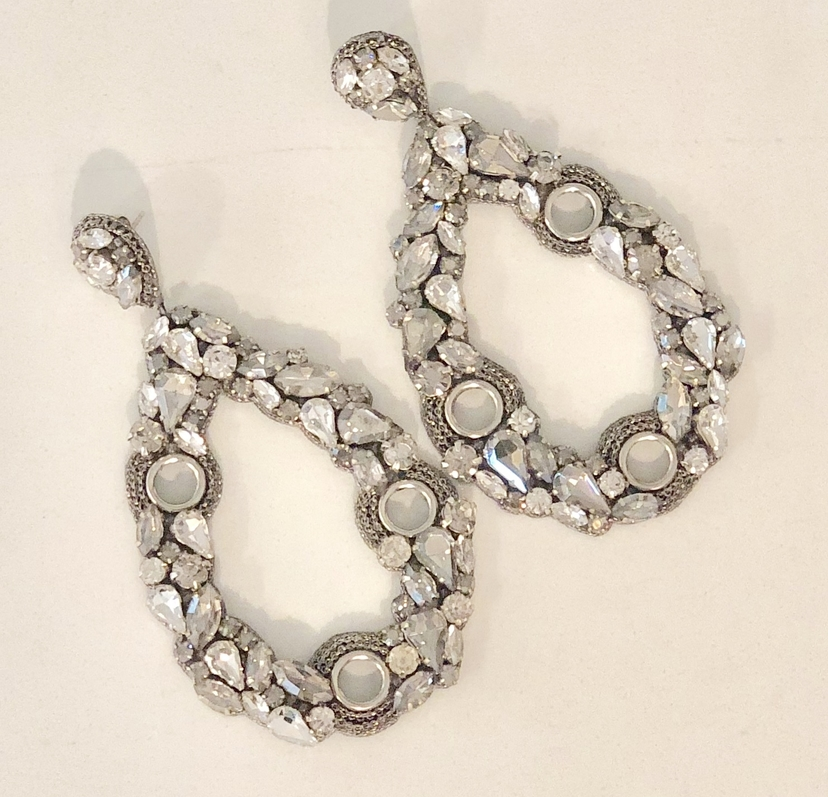 Deepa Gurnani Crystal and Glass Earrings - Silver Jewelry