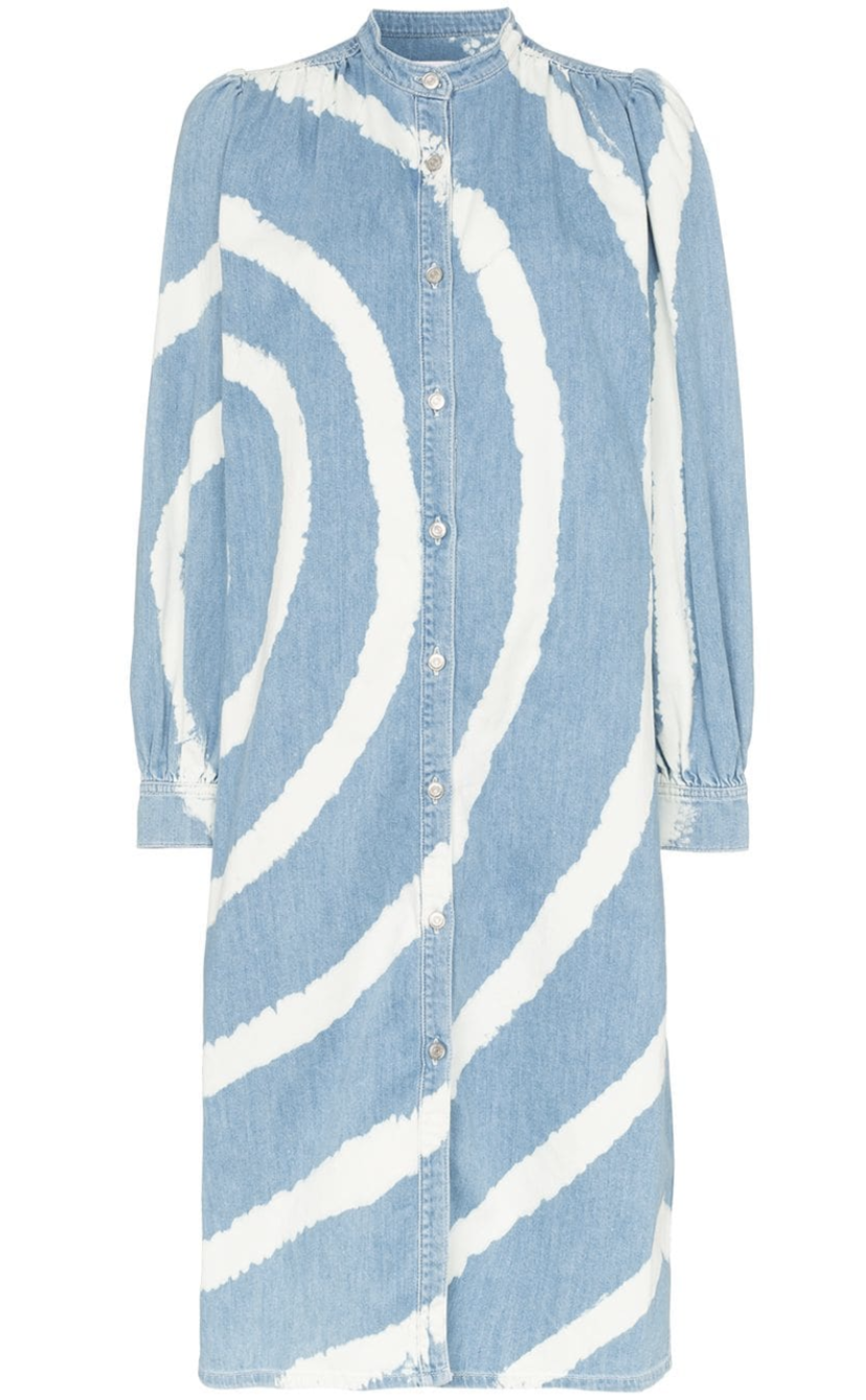 Ganni Acadia Tie-Dye Denim Dress Dresses