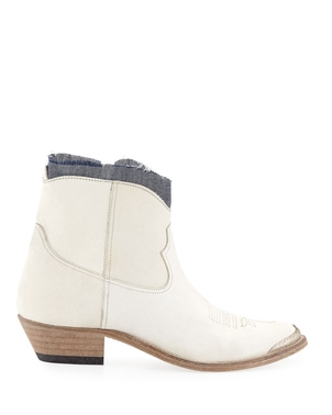 Golden Goose Deluxe Brand Young Denim Ankle Leather Boots Shoes
