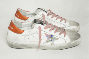 Golden Goose Deluxe Brand White Leather Hawaiian Star 'Superstar' Sneakers Shoes