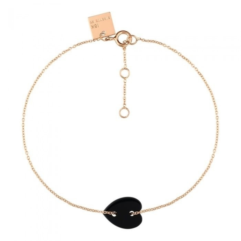 Ginette NY Angele Mini Onyx Heart Bracelet Jewelry