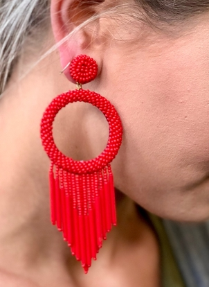 Juniper Beaded Fringe Earrings - Red Jewelry