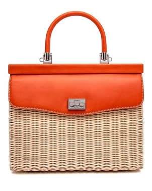 Rodo Wicker and Leather Top Handle Bag in Orange Bags