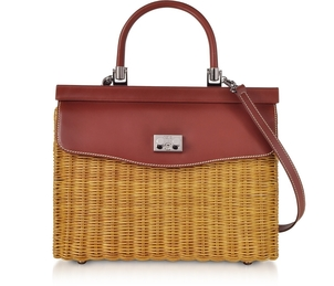 Rodo Wicker and Leather Top Handle Bag in Brown - SOLD OUT Bags