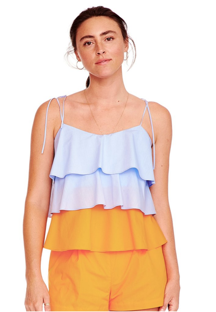 MDS Stripes Color Block Tiered Cami Tops