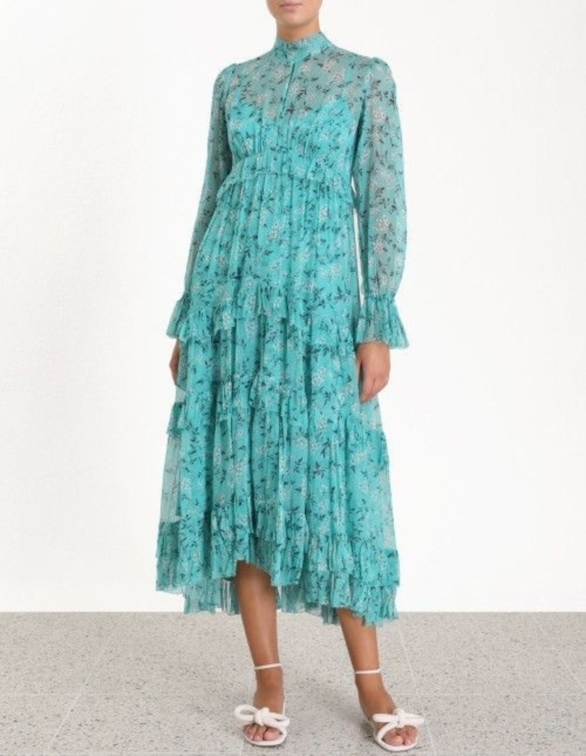 Zimmermann Moncur Gathered Frill Dress Dresses Sale