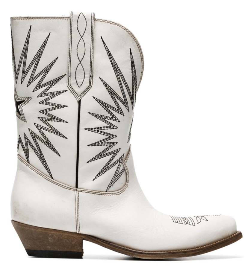 Golden Goose Deluxe Brand White Cowboy Boots Shoes