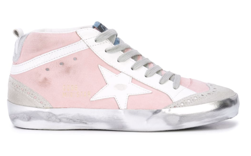 Golden Goose Deluxe Brand Pink and White Mid Star Sneaker Shoes