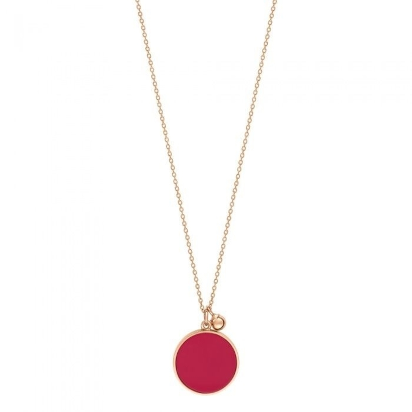Ginette NY Maria Coral Disc on Chain Jewelry