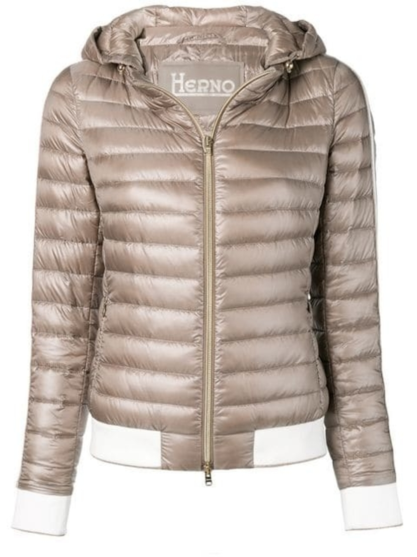 Herno Taupe Hooded Light Weight Puffer Outerwear