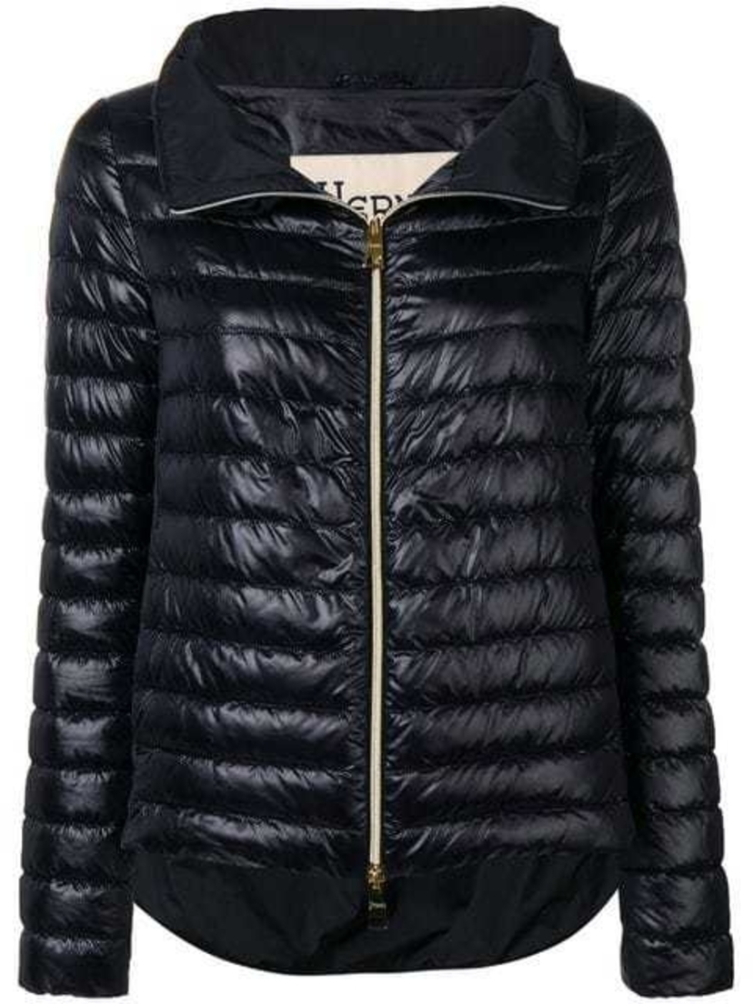 Herno Black Double Zip Funnel Neck Padded Jacket Outerwear