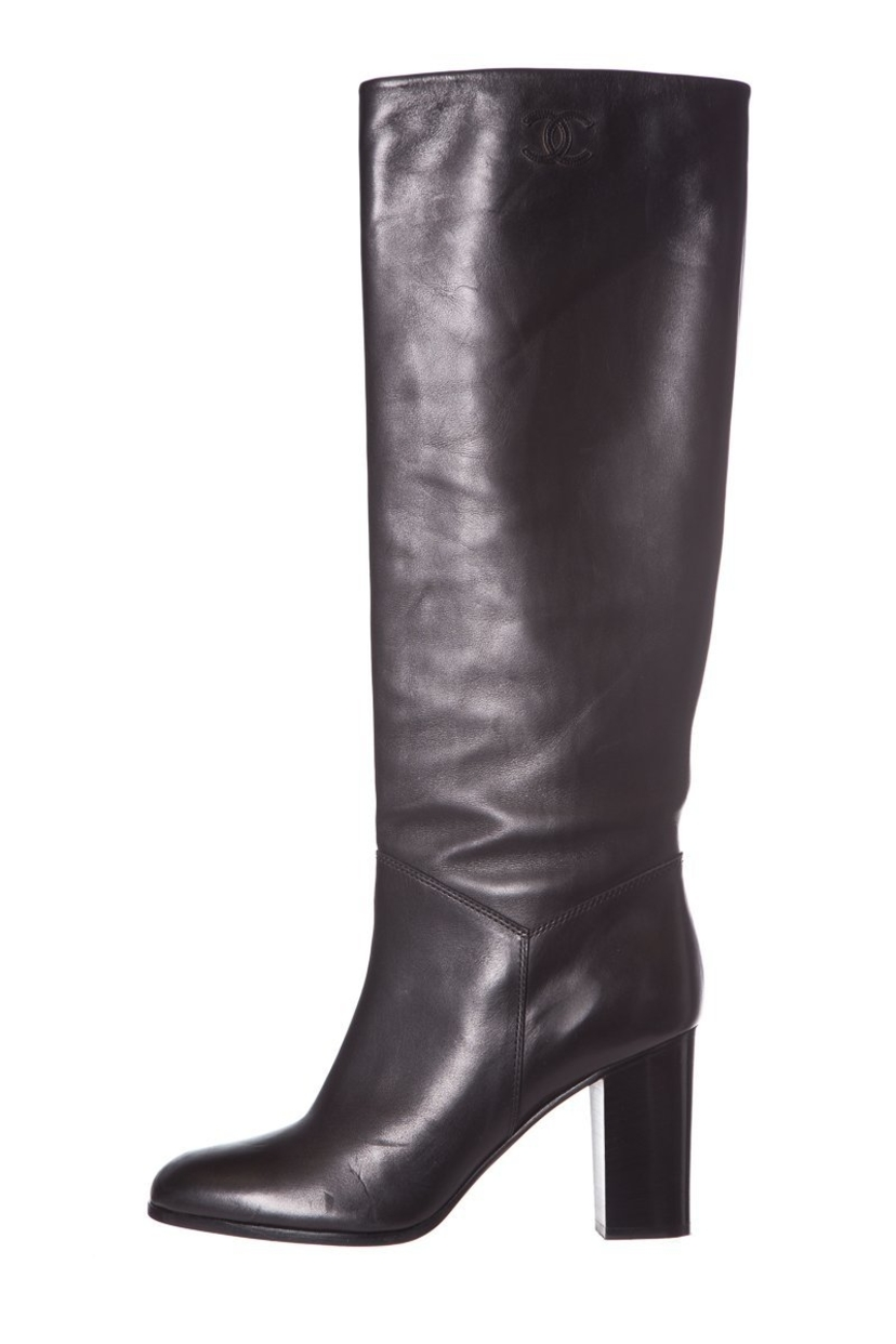 dd7ddcc0be6 Chanel Chanel Black Leather Knee-High Boots SZ 38.5 Shoes