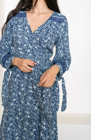 Natalie Martin Danika L/S Maxi Dress - Blue Coral Dresses