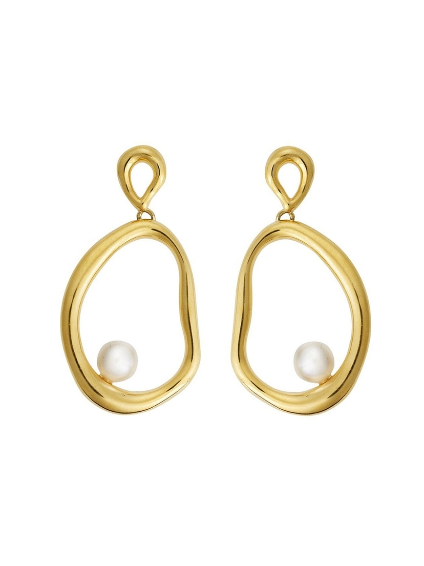 Eye M by Ileana Makri EYE M by Ileana Makri Flow Dangling Pearl Hoop Earrings Jewelry
